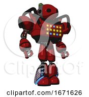 Automaton Containing Oval Wide Head And Green Led Ornament And Heavy Upper Chest And Colored Lights Array And Light Leg Exoshielding And Megneto Hovers Foot Mod Dark Red Hero Pose
