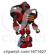 Automaton Containing Oval Wide Head And Green Led Ornament And Heavy Upper Chest And Colored Lights Array And Light Leg Exoshielding And Megneto Hovers Foot Mod Dark Red Facing Left View