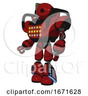 Automaton Containing Oval Wide Head And Green Led Ornament And Heavy Upper Chest And Colored Lights Array And Light Leg Exoshielding And Megneto Hovers Foot Mod Dark Red Facing Right View