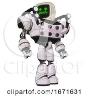 Droid Containing Old Computer Monitor And Stunned Pixels Face And Heavy Upper Chest And Chest Energy Sockets And Shoulder Headlights And Light Leg Exoshielding White Halftone Toon Hero Pose