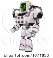 Droid Containing Old Computer Monitor And Stunned Pixels Face And Heavy Upper Chest And Chest Energy Sockets And Shoulder Headlights And Light Leg Exoshielding White Halftone Toon Facing Right View