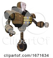 Robot Containing Humanoid Face Mask And Heavy Upper Chest And Colored Lights Array And Unicycle Wheel Old Copper Interacting