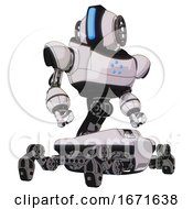 Automaton Containing Round Head And Large Vertical Visor And Heavy Upper Chest And Circle Of Blue Leds And Insect Walker Legs White Halftone Toon Hero Pose