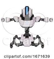 Automaton Containing Round Head And Large Vertical Visor And Heavy Upper Chest And Circle Of Blue Leds And Insect Walker Legs White Halftone Toon T Pose