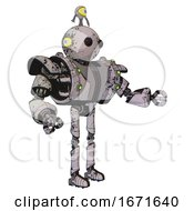 Cyborg Containing Oval Wide Head And Beady Black Eyes And Minibot Ornament And Heavy Upper Chest And Heavy Mech Chest And Green Cable Sockets Array And Ultralight Foot Exosuit Grunge Sketch Dots