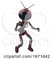 Mech Containing Digital Display Head And Blank Faced Expression And Retro Antennas And Light Chest Exoshielding And No Chest Plating And Ultralight Foot Exosuit Muavewood Halftone Grunge