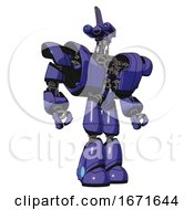 Bot Containing Dual Retro Camera Head And Reversed Fin Head And Heavy Upper Chest And Heavy Mech Chest And Light Leg Exoshielding Primary Blue Halftone Hero Pose
