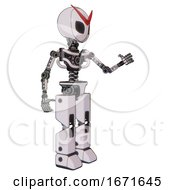 Robot Containing Grey Alien Style Head And Black Eyes And Light Chest Exoshielding And No Chest Plating And Prototype Exoplate Legs White Halftone Toon Interacting
