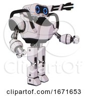 Android Containing Dual Retro Camera Head And Retro 80s Head And Heavy Upper Chest And Prototype Exoplate Legs White Halftone Toon Interacting