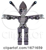 Bot Containing Grey Alien Style Head And Electric Eyes And Light Chest Exoshielding And Chest Valve Crank And Blue-Eye Cam Cable Tentacles And Prototype Exoplate Legs Light Lavender Metal T-Pose
