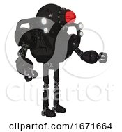 Bot Containing Round Head And Red Laser Crystal Array And Heavy Upper Chest And Shoulder Headlights And Ultralight Foot Exosuit Toon Black Scribbles Sketch Interacting
