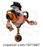 Droid Containing Bird Skull Head And Yellow And Green Scope Eyes And Crow Feather Design And Heavy Upper Chest And First Aid Chest Symbol And Blue Strip Lights And Unicycle Wheel