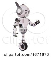 Bot Containing Round Head And Head Winglets And Light Chest Exoshielding And Prototype Exoplate Chest And Unicycle Wheel And Cat Face White Halftone Toon Interacting