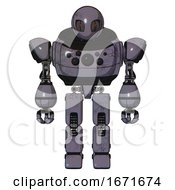 Mech Containing Grey Alien Style Head And Metal Grate Eyes And Heavy Upper Chest And Chest Compound Eyes And Prototype Exoplate Legs Light Lavender Metal Front View