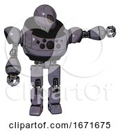 Mech Containing Grey Alien Style Head And Metal Grate Eyes And Heavy Upper Chest And Chest Compound Eyes And Prototype Exoplate Legs Light Lavender Metal Pointing Left Or Pushing A Button