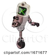 Mech Containing Old Computer Monitor And Pixel X And Retro Futuristic Webcam And Light Chest Exoshielding And Prototype Exoplate Chest And Unicycle Wheel Powder Pink Metal Fight Or Defense Pose
