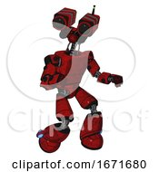 Cyborg Containing Dual Retro Camera Head And Light Chest Exoshielding And Prototype Exoplate Chest And Light Leg Exoshielding Red Blood Grunge Material Fight Or Defense Pose