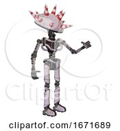 Bot Containing Red And White Cone Dome Head And Light Chest Exoshielding And No Chest Plating And Ultralight Foot Exosuit Sketch Pad Light Lines Interacting