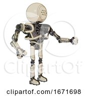 Android Containing Dots Array Face And Heavy Upper Chest And No Chest Plating And Ultralight Foot Exosuit Off White Toon Interacting