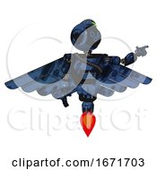 Cyborg Containing Digital Display Head And Woo Expression And Green Led Array And Light Chest Exoshielding And Rubber Chain Sash And Pilots Wings Assembly And Jet Propulsion Grunge Dark Blue