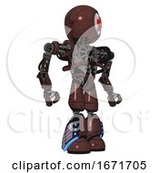 Android Containing Round Head And First Aid Emblem And Heavy Upper Chest And No Chest Plating And Light Leg Exoshielding And Megneto Hovers Foot Mod Steampunk Copper Hero Pose