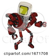 Cyborg Containing Old Computer Monitor And Yellow Circle Array Display And Heavy Upper Chest And Heavy Mech Chest And Ultralight Foot Exosuit Grunge Dots Cherry Tomato Red Fight Or Defense Pose