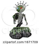 Robot Containing Oval Wide Head And Giant Blue And Red Led Eyes And Techno Halo Ornament And Light Chest Exoshielding And Rocket Pack And No Chest Plating And Tank Tracks Grass Green Hero Pose