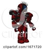 Droid Containing Digital Display Head And Three Horizontal Line Design And Eye Lashes Deco And Heavy Upper Chest And Heavy Mech Chest And Prototype Exoplate Legs Grunge Dots Dark Red