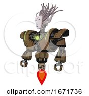 Cyborg Containing Humanoid Face Mask And Red Slashes War Paint And Heavy Upper Chest And Heavy Mech Chest And Green Energy Core And Jet Propulsion Old Copper Standing Looking Right Restful Pose