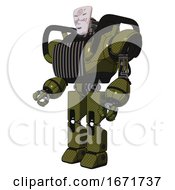 Bot Containing Humanoid Face Mask And Die Robots Graffiti Design And Heavy Upper Chest And Chest Vents And Prototype Exoplate Legs Army Green Halftone Facing Right View