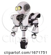 Automaton Containing Round Head And Large Yellow Eyes And Heavy Upper Chest And Heavy Mech Chest And Unicycle Wheel White Halftone Toon Standing Looking Right Restful Pose