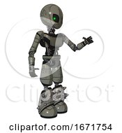 Automaton Containing Grey Alien Style Head And Green Inset Eyes And Light Chest Exoshielding And Ultralight Chest Exosuit And Light Leg Exoshielding And Spike Foot Mod Concrete Grey Metal