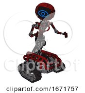 Bot Containing Digital Display Head And Large Eye And Light Chest Exoshielding And No Chest Plating And Tank Tracks Grunge Dots Dark Red Fight Or Defense Pose