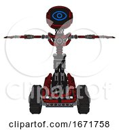 Bot Containing Digital Display Head And Large Eye And Light Chest Exoshielding And No Chest Plating And Tank Tracks Grunge Dots Dark Red T Pose