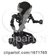 Android Containing Round Head And Bug Eye Array And Heavy Upper Chest And No Chest Plating And Six Wheeler Base Clean Black Fight Or Defense Pose