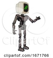 Robot Containing Old Computer Monitor And Double Backslash Pixel Design And Light Chest Exoshielding And Ultralight Chest Exosuit And Ultralight Foot Exosuit Light Pink Beige Interacting