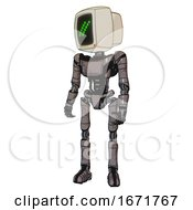 Robot Containing Old Computer Monitor And Double Backslash Pixel Design And Light Chest Exoshielding And Ultralight Chest Exosuit And Ultralight Foot Exosuit Light Pink Beige