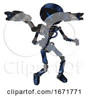 Android Containing Digital Display Head And X Face And Light Chest Exoshielding And Minigun Back Assembly And No Chest Plating And Ultralight Foot Exosuit Grunge Dark Blue Fight Or Defense Pose