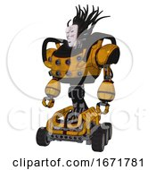 Automaton Containing Humanoid Face Mask And Die Robots Graffiti Design And Heavy Upper Chest And Chest Energy Sockets And Six Wheeler Base Worn Construction Yellow