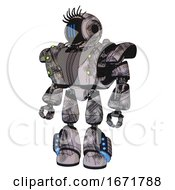 Mech Containing Digital Display Head And Three Vertical Line Design And Eye Lashes Deco And Heavy Upper Chest And Heavy Mech Chest And Green Cable Sockets Array