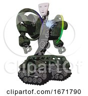 Droid Containing Humanoid Face Mask And Heavy Upper Chest And Heavy Mech Chest And Spectrum Fusion Core Chest And Tank Tracks Old Corroded Copper Hero Pose
