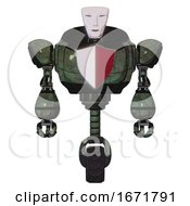Automaton Containing Humanoid Face Mask And Heavy Upper Chest And Red Shield Defense Design And Unicycle Wheel Old Corroded Copper Front View
