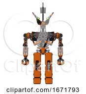 Automaton Containing Dual Retro Camera Head And Communications Array Head And Heavy Upper Chest And No Chest Plating And Prototype Exoplate Legs Secondary Orange Halftone Front View
