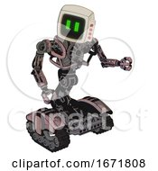 Bot Containing Old Computer Monitor And Pixel Line Eyes And Red Buttons And Heavy Upper Chest And No Chest Plating And Tank Tracks Powder Pink Metal Fight Or Defense Pose