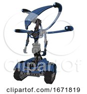 Cyborg Containing Flat Elongated Skull Head And Light Chest Exoshielding And Blue Eye Cam Cable Tentacles And No Chest Plating And Tank Tracks Blue Halftone Standing Looking Right Restful Pose