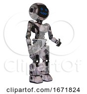 Cyborg Containing Digital Display Head And Stunned Expression And Light Chest Exoshielding And Ultralight Chest Exosuit And Prototype Exoplate Legs Scribble Sketch Facing Left View