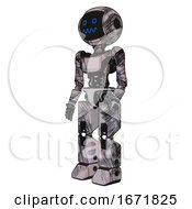 Cyborg Containing Digital Display Head And Stunned Expression And Light Chest Exoshielding And Ultralight Chest Exosuit And Prototype Exoplate Legs Scribble Sketch Facing Right View