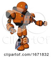 Cyborg Containing Dual Retro Camera Head And Power Symbol Head And Heavy Upper Chest And Chest Energy Sockets And Light Leg Exoshielding And Megneto Hovers Foot Mod Secondary Orange Halftone