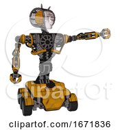 Bot Containing Humanoid Face Mask And Die Robots Graffiti Design And Heavy Upper Chest And No Chest Plating And Six Wheeler Base Worn Construction Yellow Pointing Left Or Pushing A Button