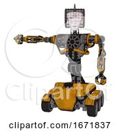 Bot Containing Humanoid Face Mask And Die Robots Graffiti Design And Heavy Upper Chest And No Chest Plating And Six Wheeler Base Worn Construction Yellow Arm Out Holding Invisible Object